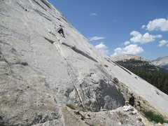 Rock Climbing Photo: Philip Matena starting the FA. Notice the cam plac...