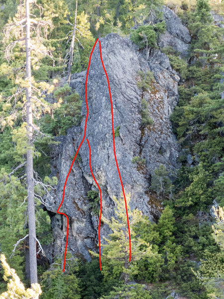 Routes left to right:<br> <br> The Delicate Tiger (5.10a), Massif Groove (5.10b), Dad (5.9)