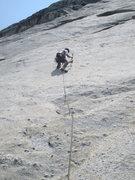 Rock Climbing Photo: Philip Matena placing a bolt on the FA lead.