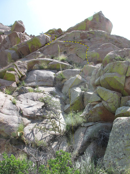Rock Climbing Photo: Head-wall version of Pitch 3, continuing into Pitc...