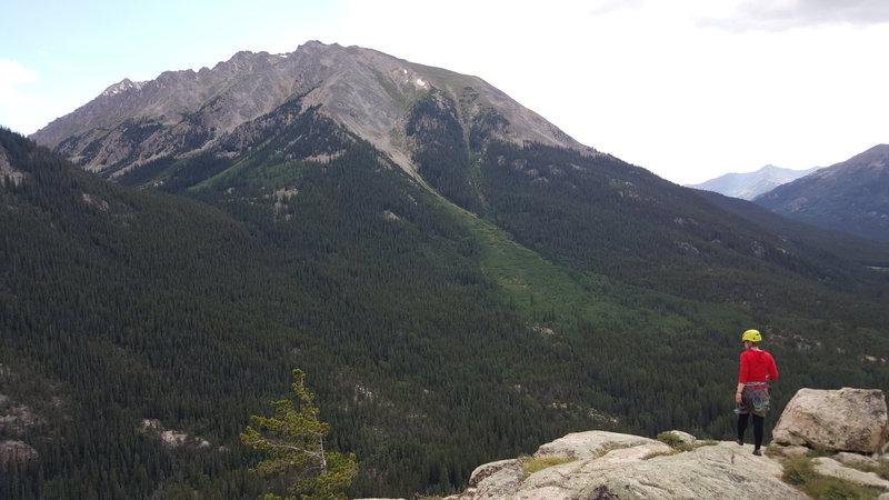Summit of Monitor Rock. La Plata's Ellingwood Ridge provides the backdrop.