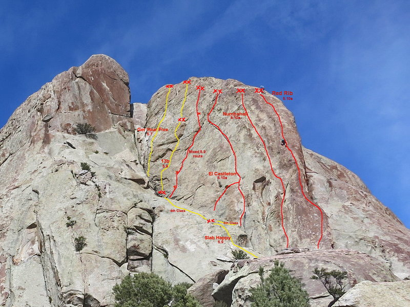 Beta photo for Red Rib Wall showing the location of 13b on the big wall to the left of El Castleton.  Red Rib, Numbshull, and El Castleton shown for perspective.