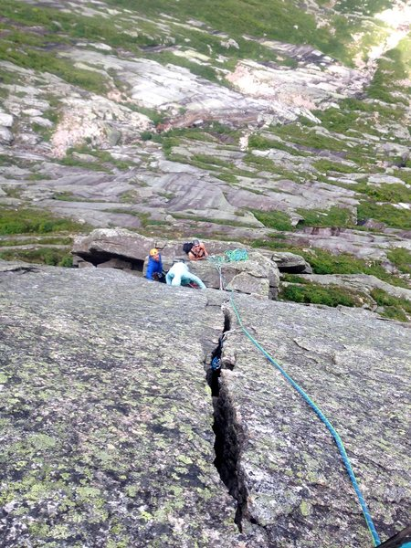 Looking back down the stellar Hand Crack pitch at Tim, Grant and Geoff standing atop the flake. <br>  Drop me a PM for some other pictures I got of you guys!