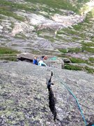 Rock Climbing Photo: Looking back down the stellar Hand Crack pitch at ...