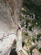 Rock Climbing Photo: Jenny Antin making the improbable reach move on P2...