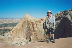 Rock Climbing Photo: Andy about half way along the Mesa ridge towards t...