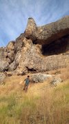 Rock Climbing Photo: Massive caves high on the hill... photo of climber...