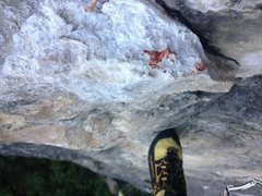 Rock Climbing Photo: Sorry to mess up your crag - left some blood behin...
