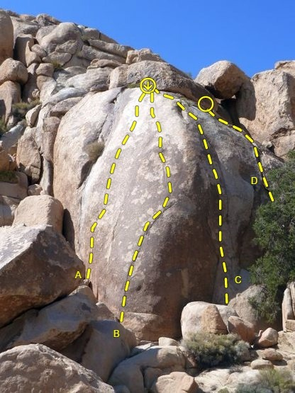 X Factor Dome (SW Face) detail, Joshua Tree NP<br> <br> A. Max Factor (5.11c)<br> B. Charles Who? (5.11b)<br> C. Give a Hoot (5.11c)<br> D. Charles in Charge (aka Who's on First) (5.9)