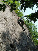 Rock Climbing Photo: RW at the crux...perhaps not the best way to try i...