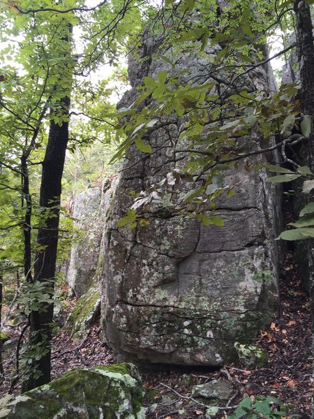 The small wall before you reach overlook is begging to be developed. Cleaned and sent few routes while passing through the area. Plenty to keep you climbing through a weekend.