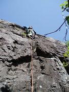 "Rock Climbing Photo: RW Leads P2 through the ""Black Band"""