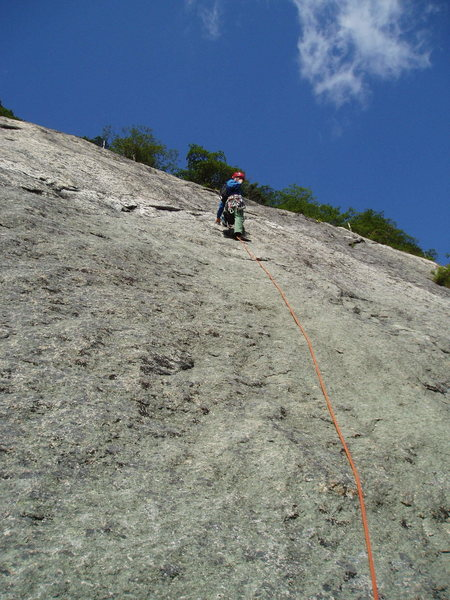 Rock Climbing Photo: Looking up at P4. The leader has just reached the ...