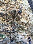 Rock Climbing Photo: Leading a 5.11 at Yellow Pine, Mt Charleston NV