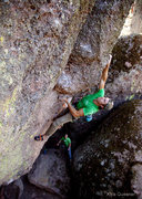 Rock Climbing Photo: Nathaniel Potter mid-crux on Lard Butt.  Photo - K...