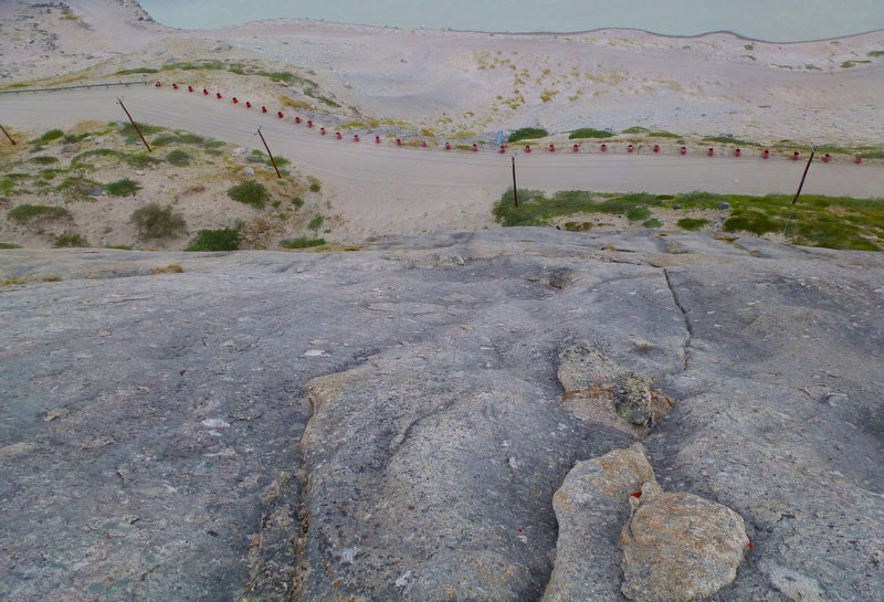 Rock Climbing Photo: View from top of pitch 1.  Center cliff, where the...