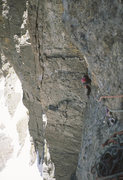 Rock Climbing Photo: The runout traverse on In Between, right and up (v...