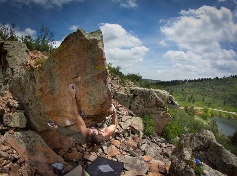 Rock Climbing Photo: Flashing some V9 at Carter lake on an amazing summ...
