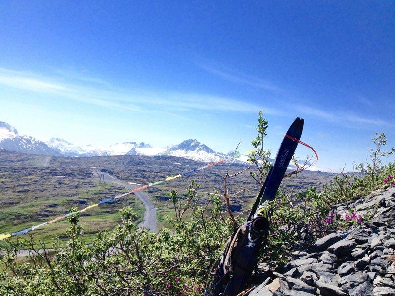 Tibetan prayer flags along the morain trail.