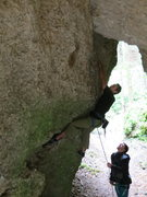 Rock Climbing Photo: Me at the crux start of Cave Fighting