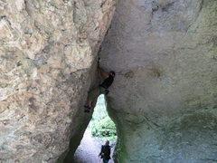 Rock Climbing Photo: Me working through the crack.