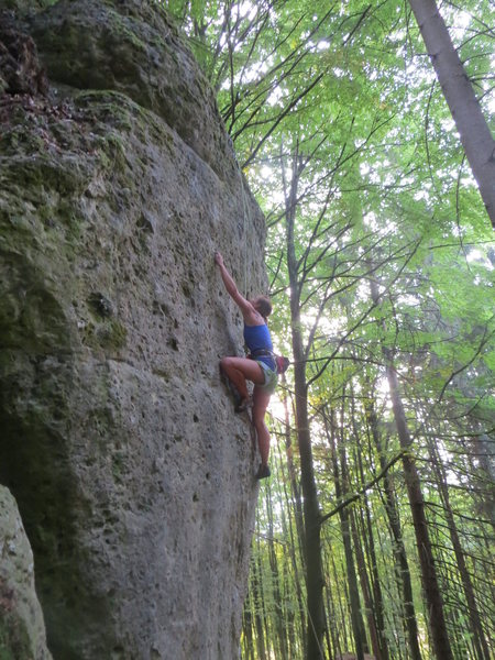 Rock Climbing Photo: Fanny praying for the end.