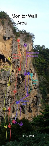 """Snake Skin climbs out of the Mantis Cave on the central pillar, and then continues up the """"mountaineers ramp"""""""