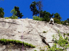 Rock Climbing Photo: RH on Upper part of route. Flake and shallow left-...