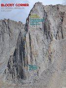 Rock Climbing Photo: Route overlay Bloody Corner