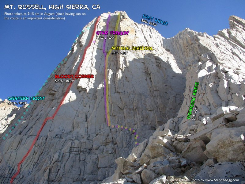 Rock Climbing Photo: Routes of Mt. Russell. As seen from base.