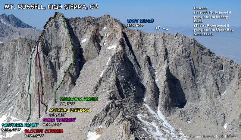 Routes of Mt. Russell. As seen from Mt. Whitney.