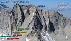 Rock Climbing Photo: Routes of Mt. Russell. As seen from Mt. Whitney.