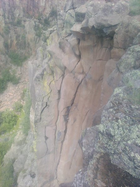 Rock Climbing Photo: Looking down the upper half of New Potato Caboose....