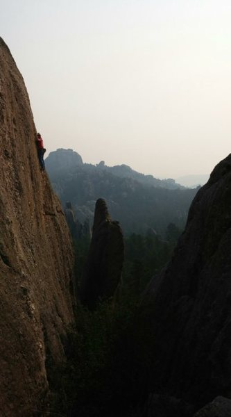 Rock Climbing Photo: A cool smokey morning on Tender Tips