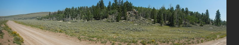 Rock Climbing Photo: Pano of the Mytoge Mtn. Road Boulder Area. On the ...