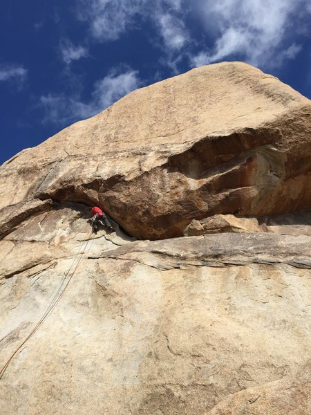 Rock Climbing Photo: Peter winding up on Sidewinder.