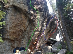Rock Climbing Photo: SW side: Boulder Island: Routes- right to left. Re...