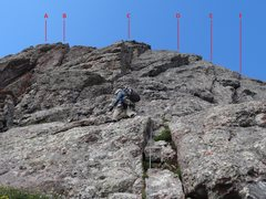 Rock Climbing Photo: Options for the final headwall pitch. Option A or ...