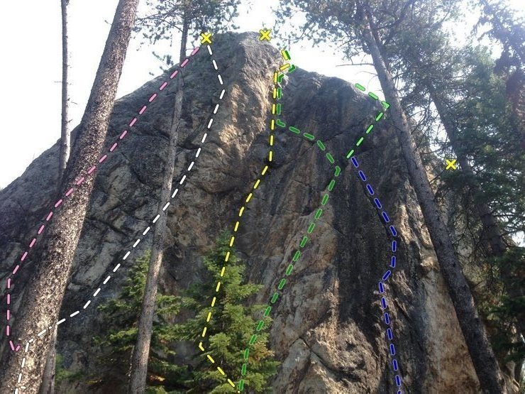 West side: <br> Blue = 5.12+ Kehough: flexi flake, small holds prow, classic. Cam directional from &quot;Balck Dike&quot; <br> Green = 5.11 Crack: distinct crux at 6m. finish in flare right with cam directional or left to &quot;Black Dike&quot;. <br> Yellow = 5.10d/11a Black Dike: Classic crimps up dark colored dike. &quot;Best 5.10 in the Tetons&quot;, 3 bolt anchor. <br> White = 5.12-: Arete': Classic prow, squat, crimp and arete rail, bolt anchor. 2 old bolt, 1 newer. <br> Pink = 5.11: NW face, start arete or flexflake, hidden crimp 3/4 height, not as classic as Arete'...