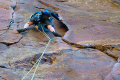 Rock Climbing Photo: Clay leading P1 with solid pro placements.