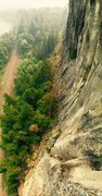 Rock Climbing Photo: From the top of Blownout on a very smokey day in t...
