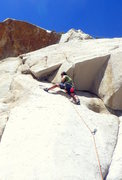 Rock Climbing Photo: Morgan on the first ascent of Slow-speed Chase. Th...