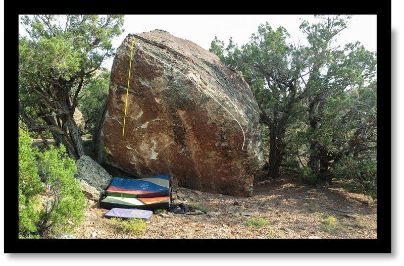 Rock Climbing Photo: Pentimento problem beta in yellow.