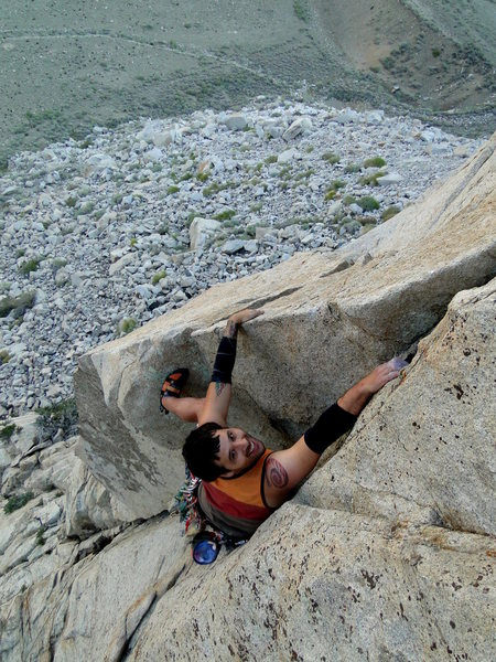Rock Climbing Photo: Morgan finishing up the third pitch on the FA of &...