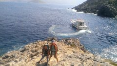 Rock Climbing Photo: Getting dropped off at the Irox sector on Telendos...