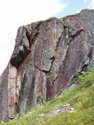 "Rock Climbing Photo: C. ""Razors Edge"", Sport 5.9 D. Unnamed R..."