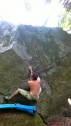 Rock Climbing Photo: TV Tan. Into the jugs, moving left.