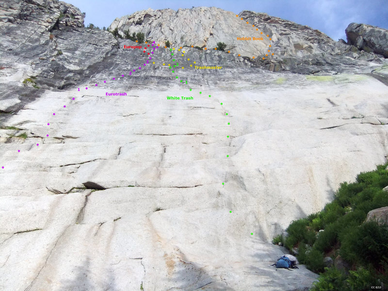 Rock Climbing Photo: Drug Dome - white slab on far right (view from bas...