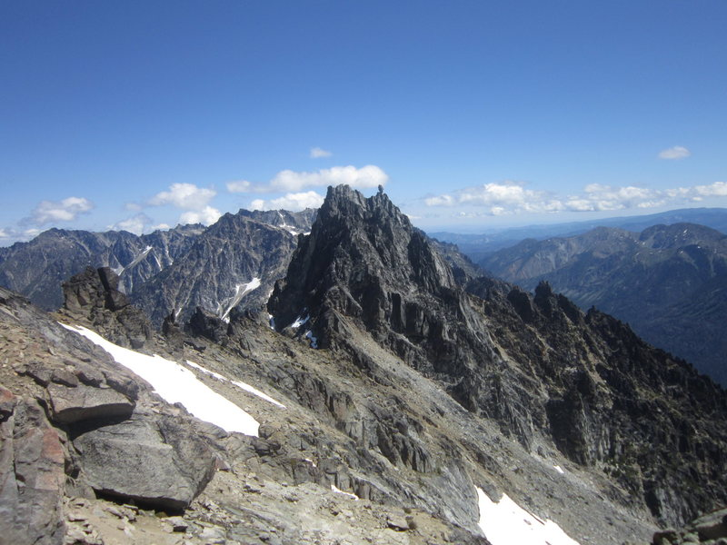 Sherpa Peak from the east slopes of Mt. Stuart, true summit on the left and balanced rock on the right.