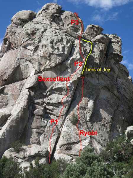 "Ryobi - 1 pitch 5.7 face climb up to anchors and a stance under a deep overhanging dihedral. One rope to the ground or the pitch above the anchors is the excellent ""Tears of Joy"" 5.10 trad."